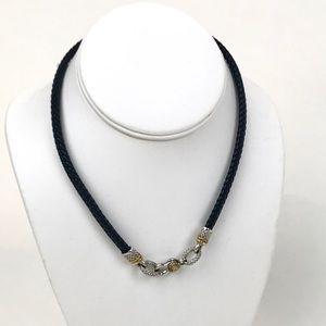 Judith Ripka Leather 18k w/Diamonds Necklace